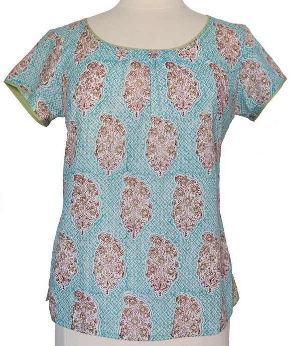 Short sleeved summer top - Persian Booti - Anokhi
