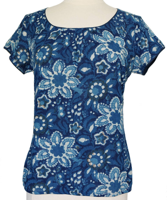 Short sleeved summer top - Versielles Indigo - Anokhi