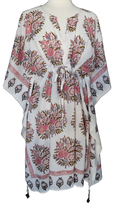 Mini Kaftan - Bouquet White - free size