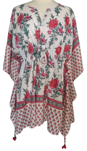 Mini Kaftan - Poppy White - free size