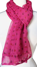 "Load image into Gallery viewer, Hand Block Printed Scarf - Pink Spot - 22"" x 72"" - cotton/silk - Anokhi"