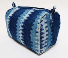 Load image into Gallery viewer, Hand Block Printed Toiletries Bag - Zigzag Indigo - Various Sizes - Anokhi