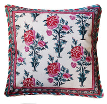"Load image into Gallery viewer, Cotton Cushion Cover - Poppy - Square 18"" x 18"" - Anokhi"