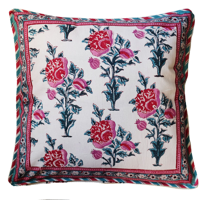 Cotton Cushion Cover - Poppy - Square 18