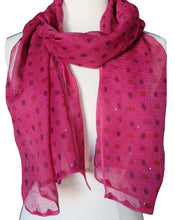 "Load image into Gallery viewer, Hand Block Printed Scarf - Pink Spot - 22"" x 72"" - cotton/silk"