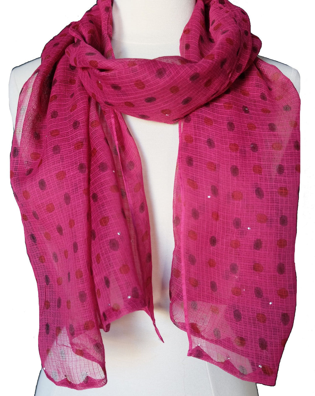 Hand Block Printed Scarf - Pink Spot - 22