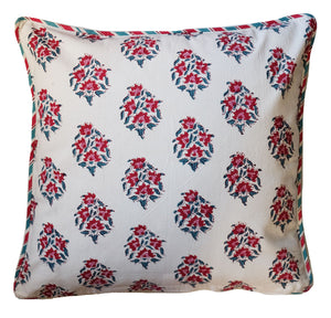 "Cotton Cushion Cover - Poppy - Square 18"" x 18"" - Anokhi"