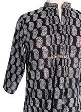 Load image into Gallery viewer, Hand block printed smock top - Paisley Black