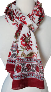 "Hand Block Printed Scarf - Chintz - 15"" x 72"" - 100% cotton"