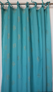 "Hand block printed curtain - turquoise and gold print - cotton - 47""w x 92"" l - Anokhi"