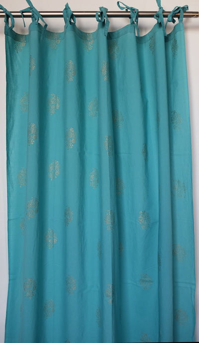 Hand block printed curtain - turquoise and gold print - cotton - 47