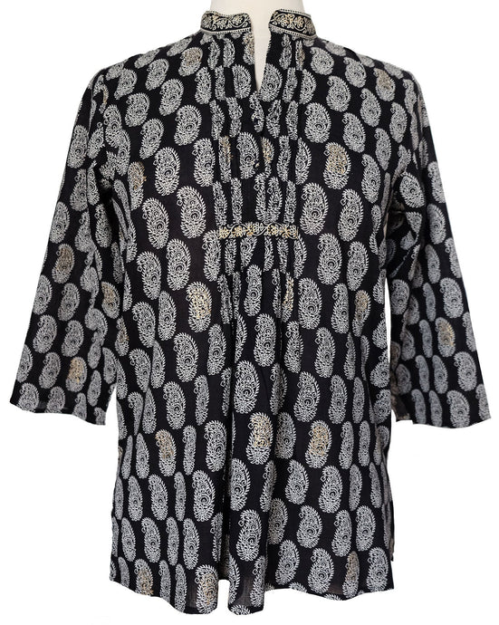 Hand block printed smock top - Paisley Black