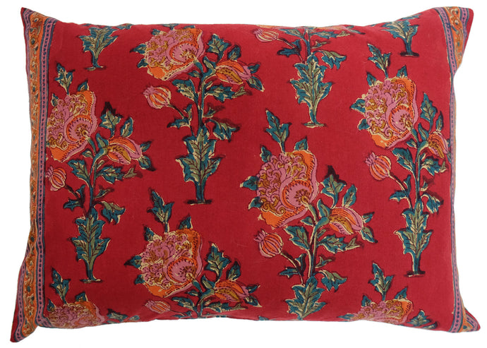 Cotton Cushion Cover - Poppy - Square 14