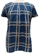 Load image into Gallery viewer, Short sleeved summer top - Indigo Check - Anokhi