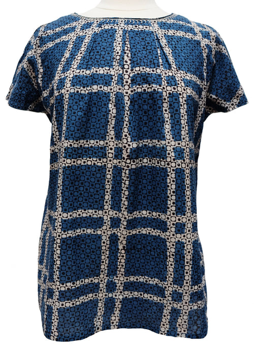 Short sleeved summer top - Indigo Check - Anokhi