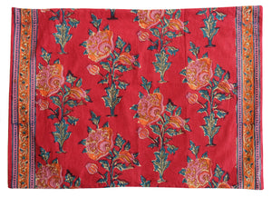 "Cotton Cushion Cover - Poppy - Square 14"" x 20"" - Anokhi"