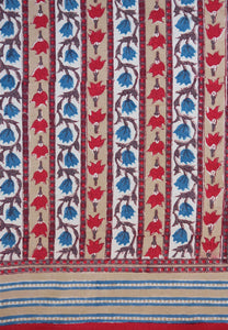 "Hand Block Printed Tablecloth  - Trellis Stone - 55"" x 87"""