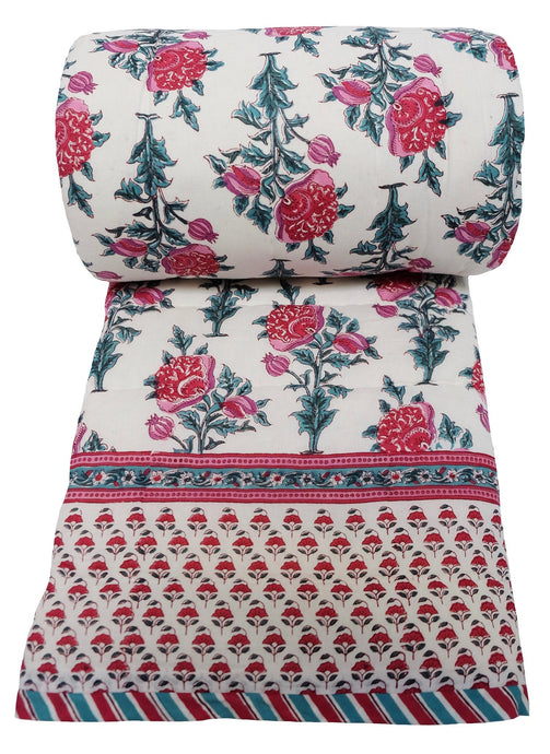 Wood block printed, cotton, twin sized quilt: 70 x 108 - Poppy - 100% cotton, reversible quilt.