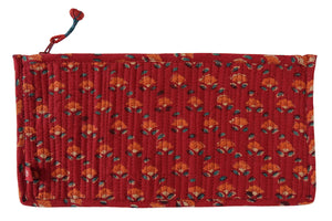 "Hand Block Printed Cosmetic Bag - Buds Red -  10L"" x 5H"" - Anokhi"