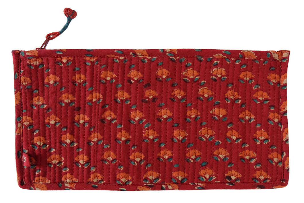 Hand Block Printed Cosmetic Bag - Buds Red -  10L