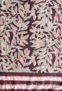 "Hand Block Printed Scarf - Leaves - 22"" x 72"" - 100% cotton - Anokhi"