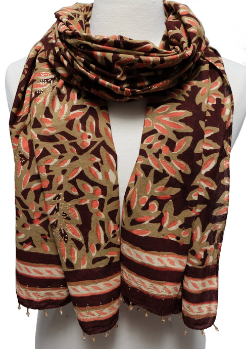 Hand Block Printed Scarf - Leaves - 22
