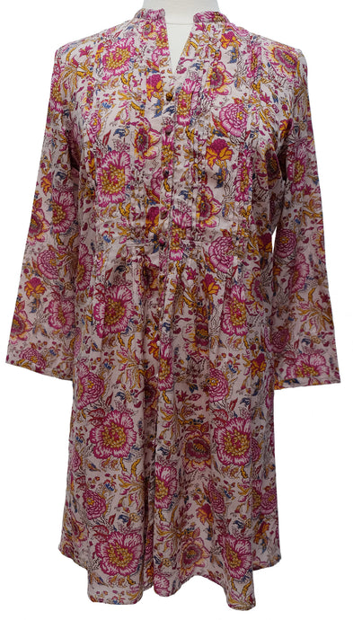 Hand block printed smock top - Pomegranite