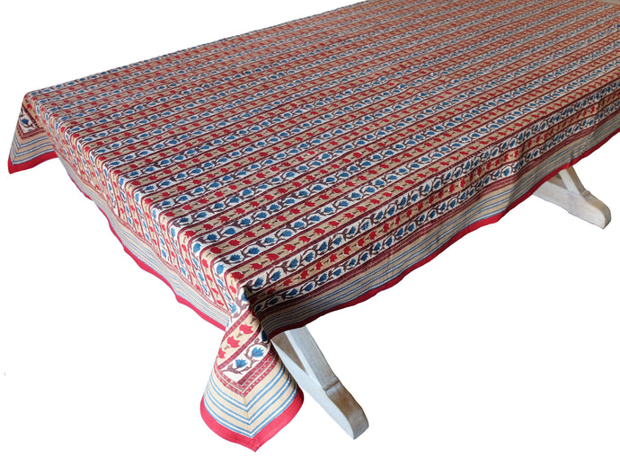 Hand Block Printed Tablecloth  - Trellis Stone - 55