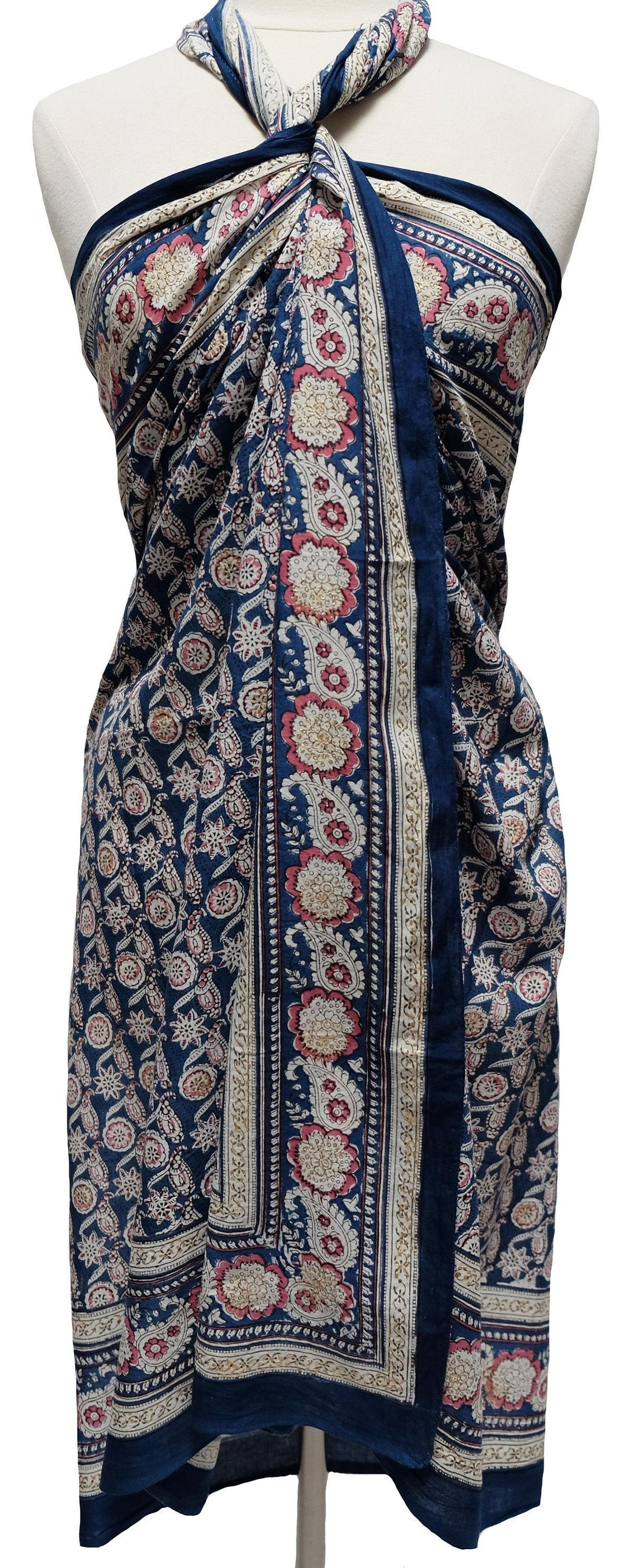 Hand Block Printed Sarong - Flower paisley - Cotton - Anokhi