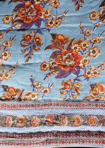 Cotton printed Quilt - Various Sizes - Skyflower Blue - 100% cotton, reversible quilt. - Anokhi