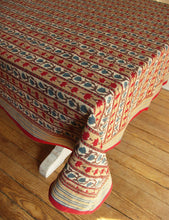 "Load image into Gallery viewer, Hand Block Printed Tablecloth  - Trellis Stone - 55"" x 87"" - Anokhi"