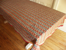 "Load image into Gallery viewer, Hand Block Printed Tablecloth  - Trellis Stone - 55"" x 87"""