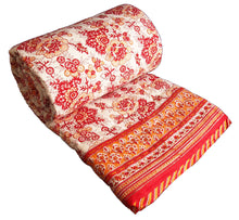 Load image into Gallery viewer, Red saflower Quilt - Queen 90 x 108 - 100% cotton, reversible.