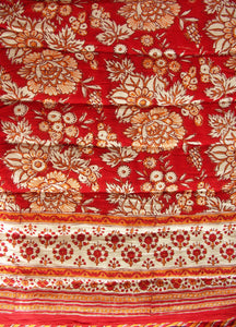Red saflower Quilt - Queen 90 x 108 - 100% cotton, reversible. - Anokhi