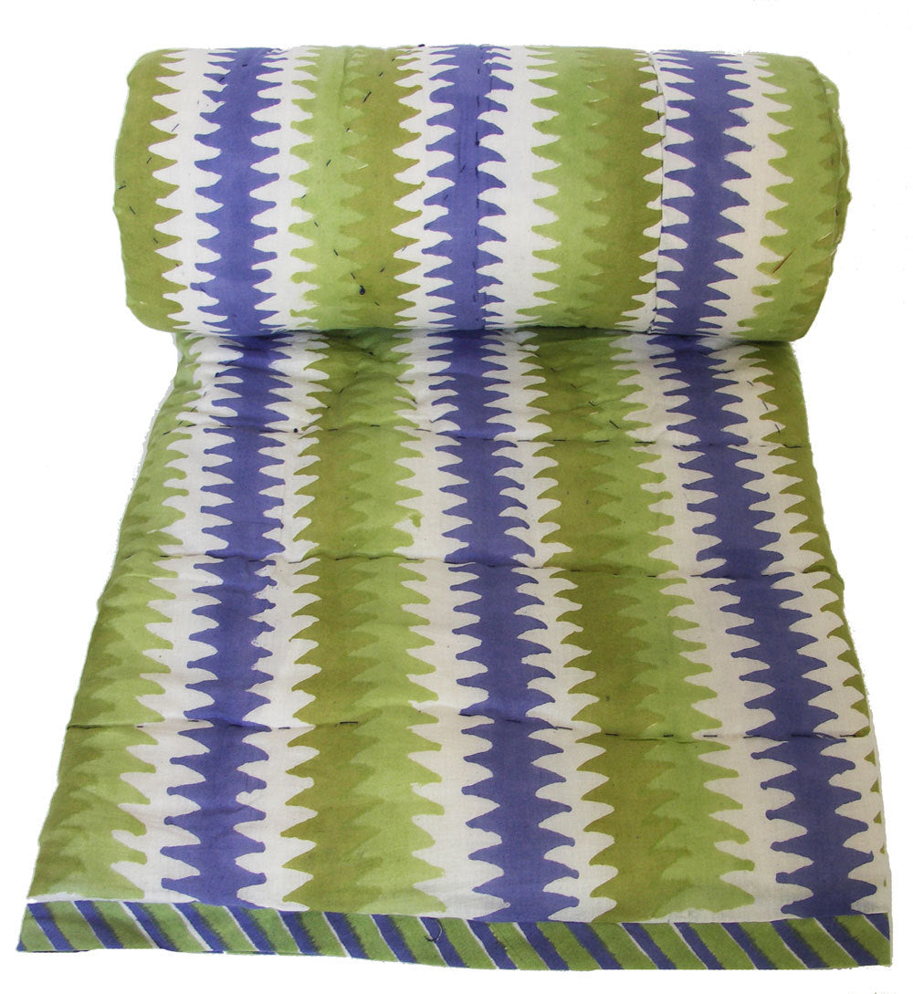 Mini Reversible Quilt - Lagoon Stripe - 45