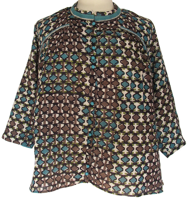 Hand block printed smock top - Becca Check