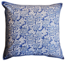 "Load image into Gallery viewer, Large Cotton Cushion Cover - Deco Rose Blue - Square 24"" x 24"" - Anokhi"