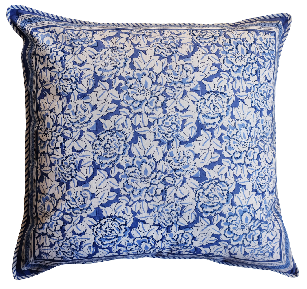 Large Cotton Cushion Cover - Deco Rose Blue - Square 24