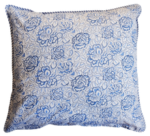 "Load image into Gallery viewer, Large Cotton Cushion Cover - Deco Rose Blue - Square 24"" x 24"""