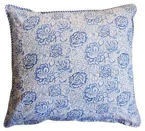 "Large Cotton Cushion Cover - Deco Rose Blue - Square 24"" x 24"" - Anokhi"