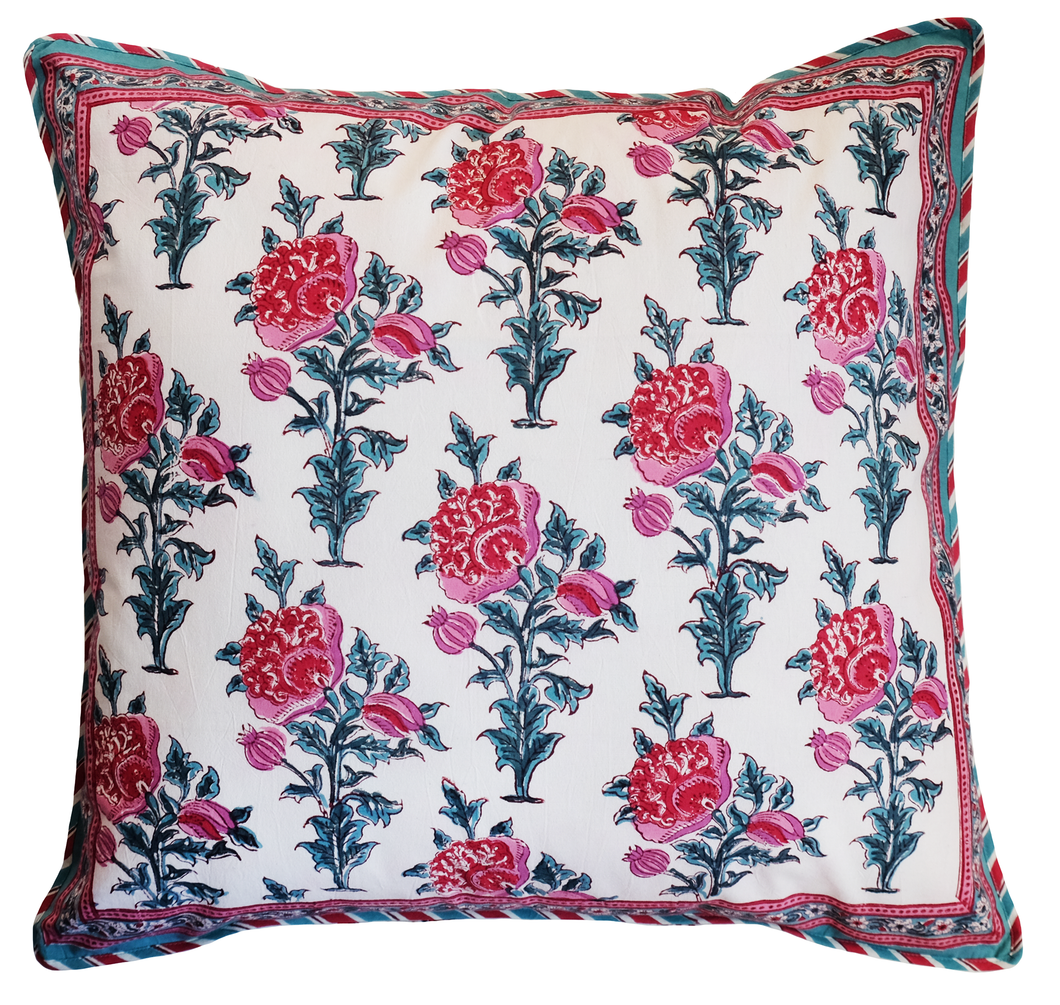 Large Cotton Cushion Cover - Poppy - Square 24