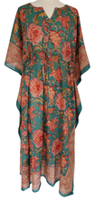 Load image into Gallery viewer, Long Kaftan - Poona Chintz Teal - free size - Anokhi