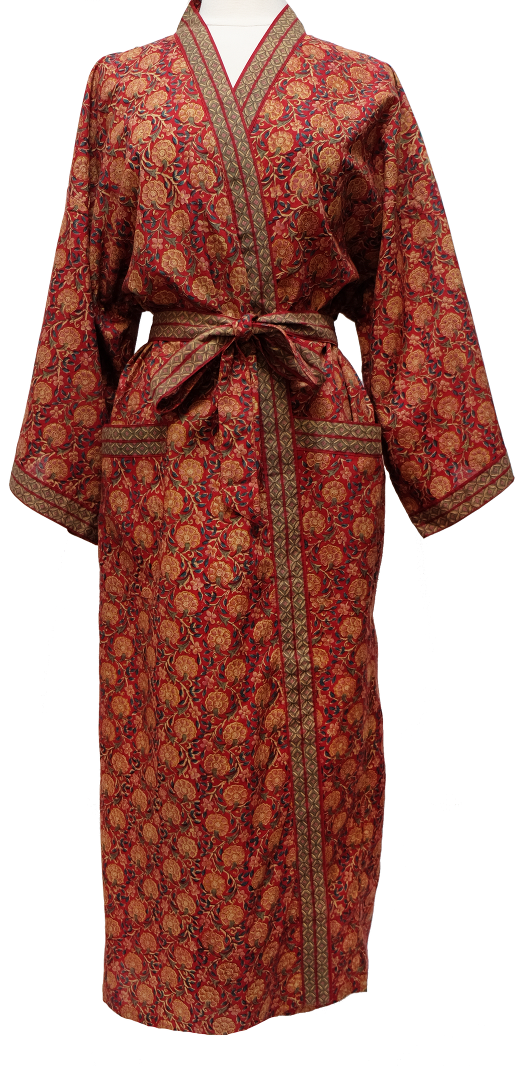 Long Kimono Robe - Bloom Red- free size - Anokhi