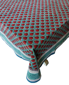 "Hand Block Printed Tablecloth  - Pentalisa Emerald - 108"" x 70"" - Anokhi"
