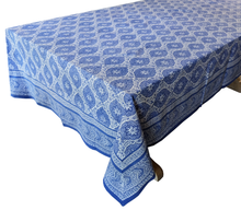 "Load image into Gallery viewer, Hand Block Printed Tablecloth  - Victoria Garden Blue - 108"" x 70"" - Anokhi"