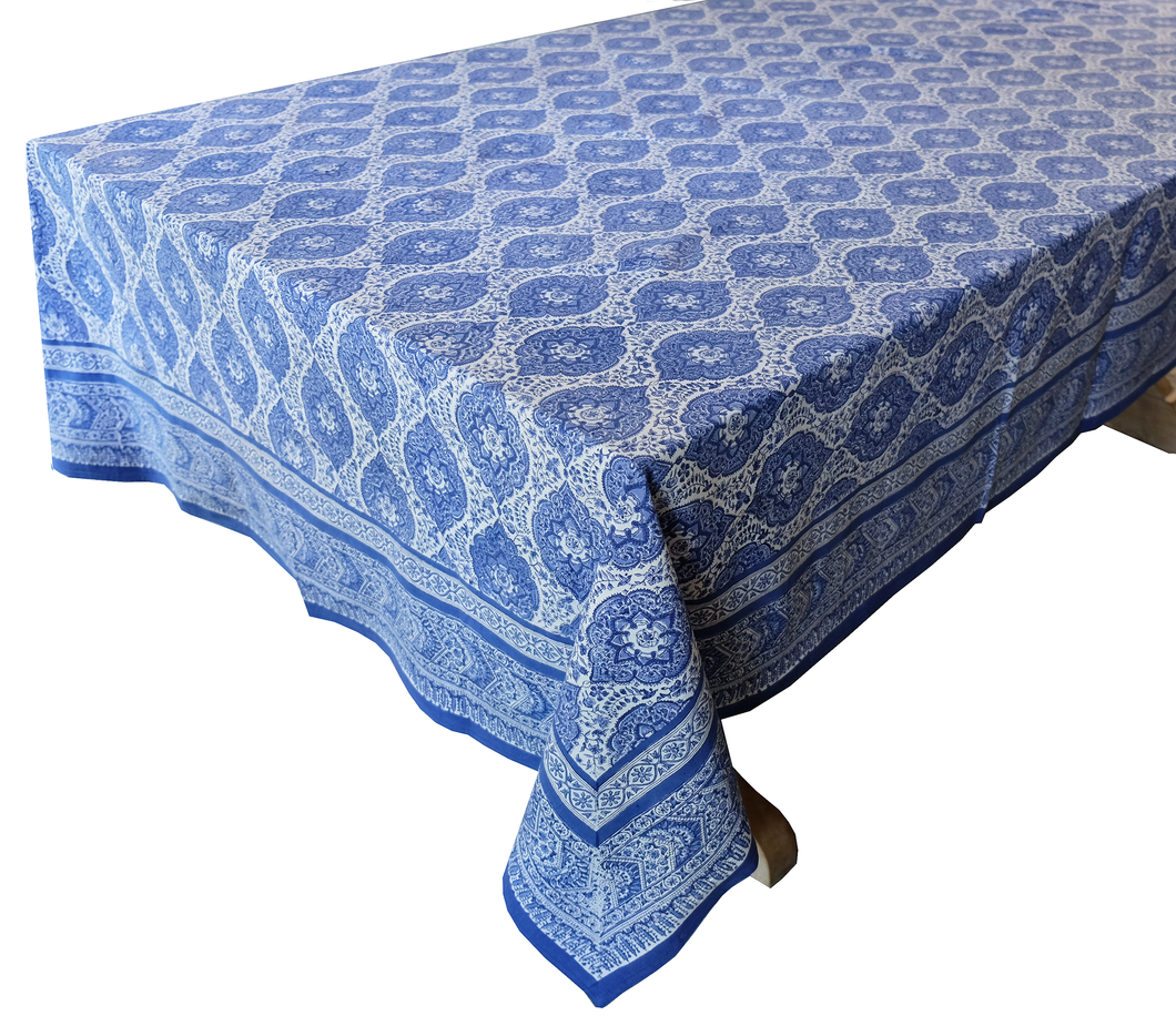 Hand Block Printed Tablecloth  - Victoria Garden Blue - 108