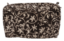 Load image into Gallery viewer, Hand Block Printed Toiletries Bag - Filigree Bronze - Various Sizes - Anokhi