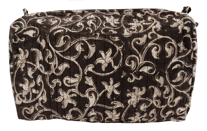 Hand Block Printed Toiletries Bag - Filigree Bronze