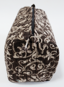 Hand Block Printed Toiletries Bag - Filigree Bronze - Various Sizes - Anokhi