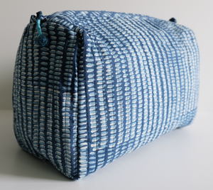Hand Block Printed Toiletries Bag - Dash Indigo - Anokhi